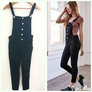 Kendall & Kylie Black Button Front Overalls